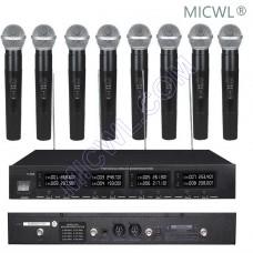 MICWL 2038 Professional 8 Handheld DJ Karaoke Sing Wireless Microphones System UHF fixed-frequency