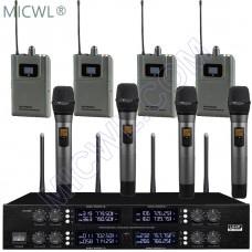 MICWL 400 Channel 4 Handheld 4 Lavalier Beltpack Wireless DJ Karaoke Microphone System