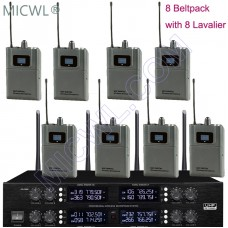 MICWL AD3880 UHF 400 Channel Wireless Microphone System 8 Lavalier Mics