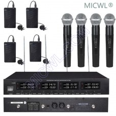 MICWL Professional 4 Handheld 4 Lavalier DJ Karaoke Sing Wireless Microphones System UHF fixed-frequency