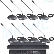 MICWL 12 Table Digital Wired Conference Microphones System 1 President 11 Delegate Unit A350-A01 Built-in speaker