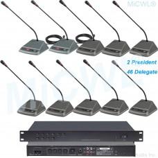 MICWL 48 Desktop Digital Wired Conference Microphones System 2 President 46 Delegate Unit A350-A04