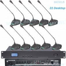 MICWL 22 Desktop Gooseneck Built-in speaker Digital Conference Meeting System 1 Chairman 21 Delegate A351M-A06