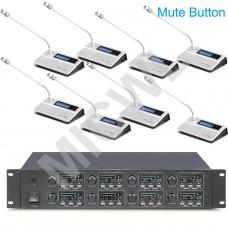MICWL BU780 Digital Wireless Conference Gooseneck 8 Microphone Mics System mute button