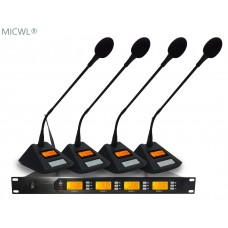 Professional UHF 4 Goose neck Table Wireless Conference Meeting Microphones System 4x100 Channel