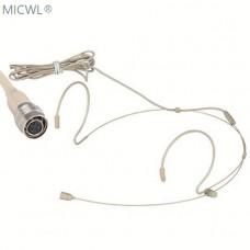 Beige Dual ear worn Omndirectional Headset Microphones For Audio-Technica Wireless