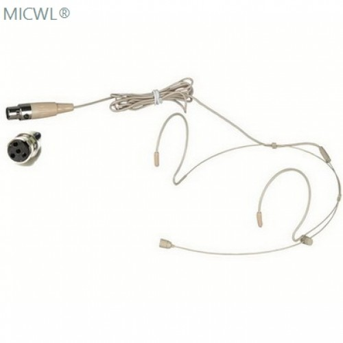 micwl beige dual ear hook headset microphone for shure wireless headworn mic system