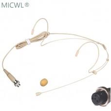 Beige Dual ear Hook Headset Microphone for MiPro Wireless Headworn Mic System