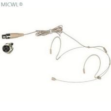 MICWL Beige Dual ear Hook Headset Microphone for Shure Wireless Headworn Mic System