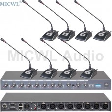 MICWL T510 8Pcs Wired Desk Tabletop Gooseneck Conference Microphone System and R2820 8 Channel 48V Phantom Sound Mixer
