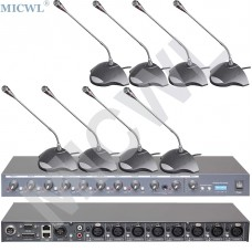 MICWL T516 8 Wired Desk Tabletop Gooseneck Conference Microphone and R2820 8 Channel 48V Phantom Sound Mixer