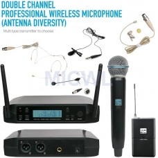 MICWL D220 UHF Dual Channel Wireless Microphone System Handheld Headset Lapel Instrument