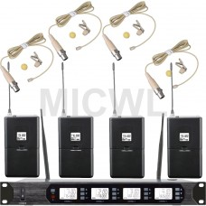 MICWL D400 Audio UHF Wireless Microphone System 4 Beige Lavalier Lapel Mic 400 Channel frequency adjustment