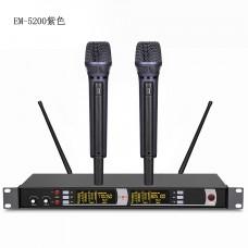 Pro EM5200 Rechargeable 2 Handheld of Black purple Wireless Microphones DJ karaoke Mic System
