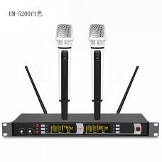 Professional EM-5200 2 White Handheld Wireless Microphones DJ karaoke Mic System