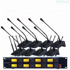 MiCWL G1800 Digital Wireless 8 Conference Microphone System 8 Gooseneck Desktop Mic 8 XLR 6.5mm Output